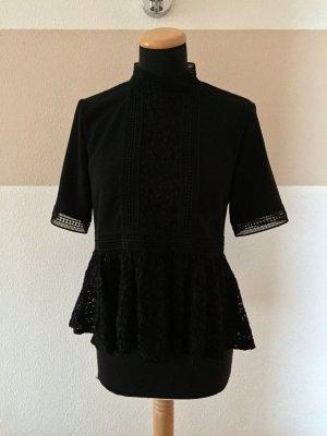 20123108 Schwarze Peplum Lochmuster Bluse von Zara, Gr. S