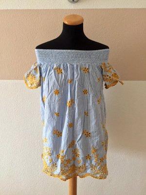 21011603 Blau weiß gelb Stickerei Bluse, Kleid von Zara, Gr. M (NEU)