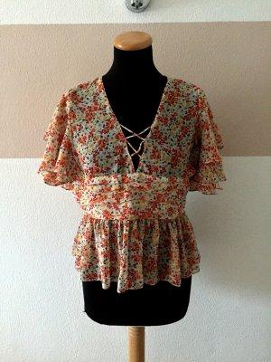 21011706 Orange rot Blumen Volant Bluse von Zara, Gr. L (NEUw.)