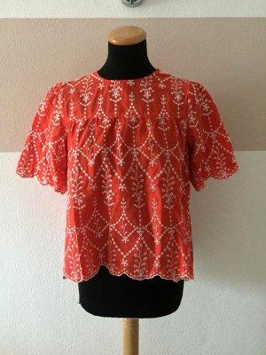 21011707 Orange rot weiß Stickerei Lochmuster Bluse von Zara, Gr. M (NEUw.)