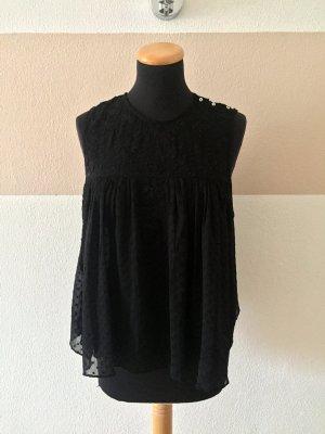 21011804 Schwarze Stickerei Bluse, Top von Zara, Gr. S