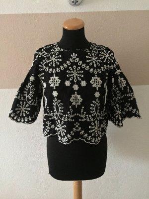21011806 Schwarz weiß Stickerei Lochmuster Bluse von Zara, Gr. S (NEU)
