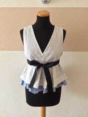 21011901 Weiß blau Schleifen Peplum Bluse von Zara, Gr. M (NEU)