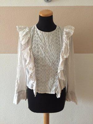 21011914 Weiße Lochmuster Rüsch Bluse von Zara, Gr. M