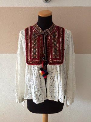 21011916 Weiße Lochmuster Stickerei Jacke Bluse von Zara, Gr. XS (NEUw.)