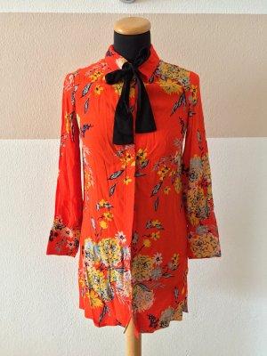 21012202 Rot orange Blumen Blusen Kleid von Zara, Gr. XS (NEU)