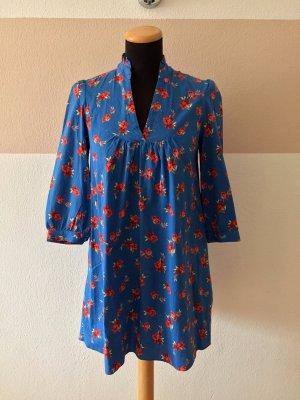 21032903 Blau Baumwolle Blumen Kleid mit Taschen von Zara, Gr. XS (NEUw.)