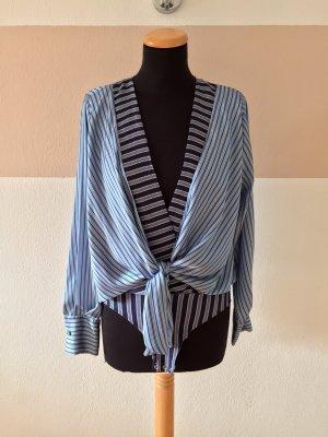 21033006 Blau Streifen Blusen Body von Zara, Gr. S (NEU)