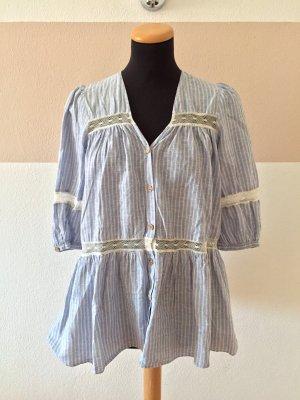 21040502 Blau weiß Streifen Holzknöpfe Bluse von Zara, Gr. XS (NEUw.)