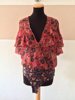 21040514 Bunter Blumen Blusen Body von Zara, Gr. L