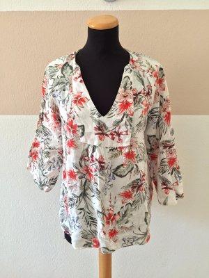 21040801 Creme Blumen Leinen Bluse von Zara, Gr. M (NEU)
