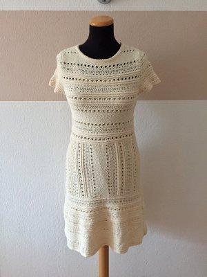 21040802 Creme weiß Häkel Strick Kleid von Zara, Gr. S (NEU)