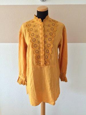 21040902 Gelbe Baumwoll Lochmuster Tunika, Kleid von Zara, Gr. XS (NEUw.)