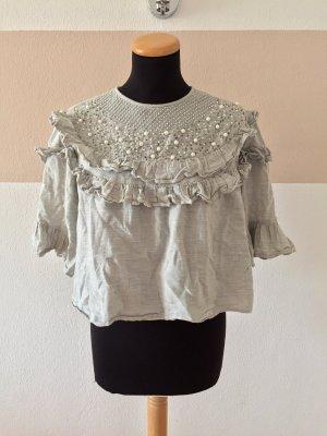 21040904 Graue Perlen Bluse von Zara, Gr. S