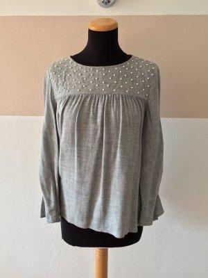 21040905 Graue Perlen Bluse von Zara, Gr. S (NEU)