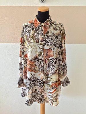 21050203 Creme schwarz Safari Bluse von Zara, Gr. S