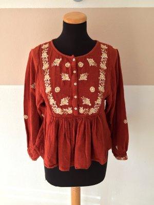 21050702 Orange weiß Stickerei Baumwoll Bluse von Zara, Gr. XS (NEU)