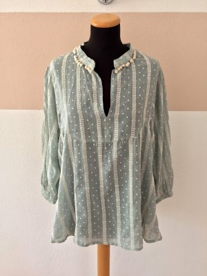 21051806 Blau weiß Punkte Bommel Bluse von Zara, Gr. M (NEUw.)