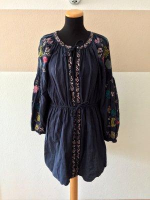 21051807 Blaues Stickerei Baumwolle Kleid von Zara, Gr. S
