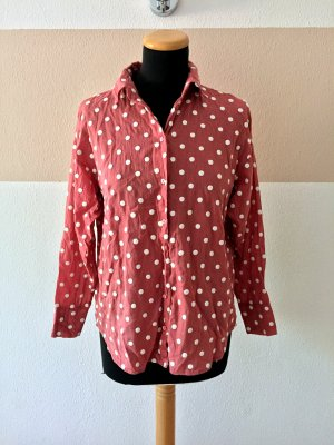 21052201 Altrosa weiß Punkte Basic Bluse von Zara, Gr. XS