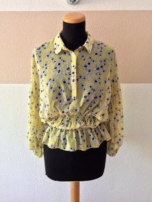 21052301 Gelbe Blumen Millefleur Schnür Bluse von Zara, Gr. M (NEUw.)