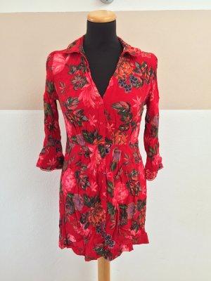 21052804 Rotes Blumen Kleid von Zara, Gr. S