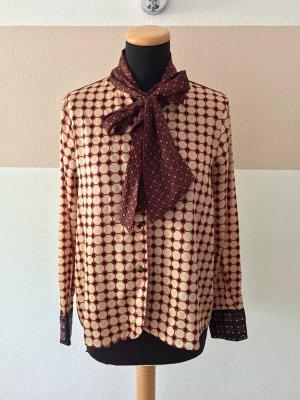 21052807 Rot beige retro Schluppen Schleife Bluse von Zara, Gr. M (NEUw.)