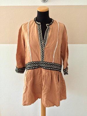 21060601 Senf schwarz weiß Stickerei Tunika Kleid von Zara, Gr. S