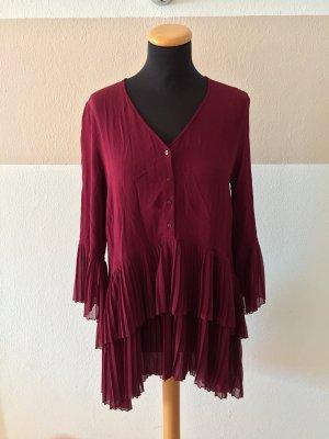 21060603 Weinrot bordeaux Plissee Kleid oder Bluse von Zara, Gr. M (NEU)