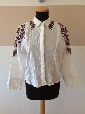 21060701 Weißes Blumenstickerei Hemd Bluse von Zara, Gr. XS