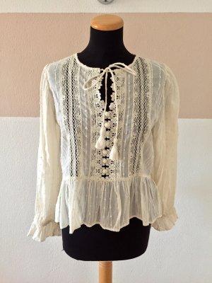 21060802 Creme weiß Bommel Bluse von Zara, Gr. M (NEU)
