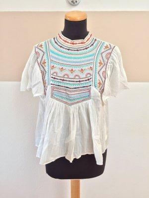 21060902 Weiße Stickerei Bluse von Zara, Gr. S (Neuw.)