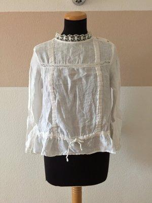 21060906 Weiße Leinen Stickerei Bluse von Zara, Gr. S