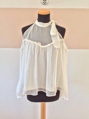 21060908 Weiße offshoulder Schleifen Bluse von Zara, Gr. XS (NEU)