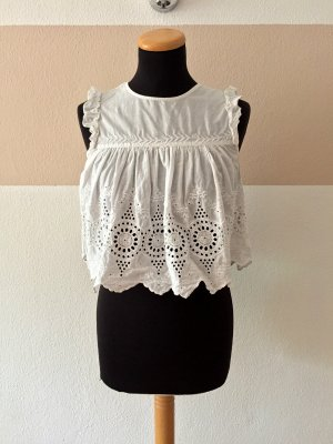 Zara Blusa senza maniche bianco Cotone