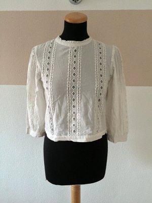 21061403 Weiße Lochmuster Baumwoll Bluse von Zara, Gr. S