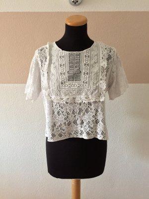 21061406 Weißes Lochmuster Häkel Shirt, Bluse von Zara, Gr. S (Neuw.)