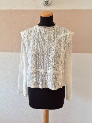 Zara Camicetta a maniche lunghe bianco Cotone