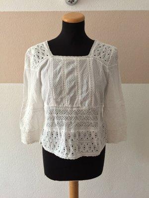 Zara Camicetta a maniche lunghe bianco Tessuto misto