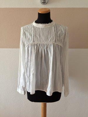 21061702 Weiße Stickerei Baumwoll Bluse von Zara, Gr. M
