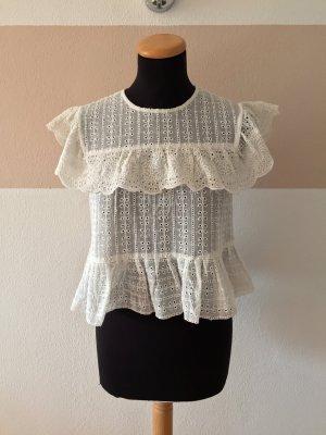 21062401 Weiße Lochmuster Lagen Bluse von Zara, Gr. XS (NEUw.)