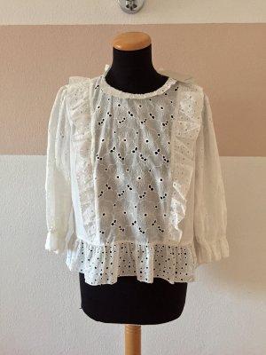21062402 Weiße Lochmuster Rüschen Bluse von Zara, Gr. M (NEU)