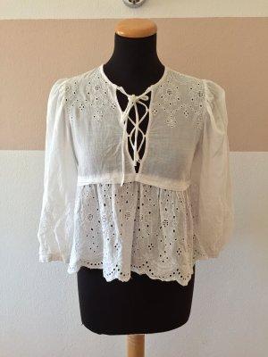 21062403 Weiße Lochmuster Schnürung Bluse von Zara, Gr. XS