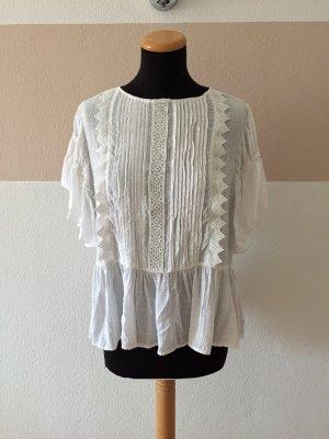 21062404 Weiße Plissee Spitzen Bluse von Zara, Gr. M (NEUw.)