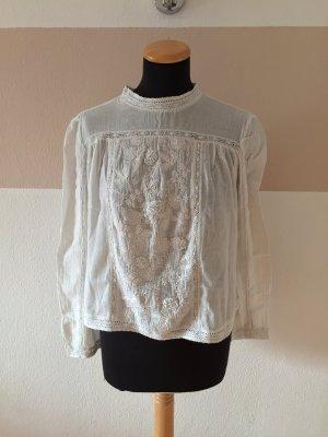 21062406 Weiße creme Stickerei Bluse von Zara, Gr. S