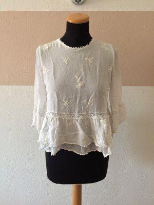 21062407 Weiße Stickerei Bluse von Zara, Gr. S