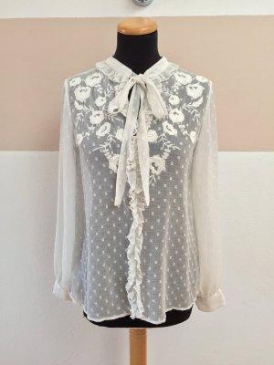 21070604 Weiße Punkte Blumen Schleife Bluse von Zara, Gr. S (NEUw.)