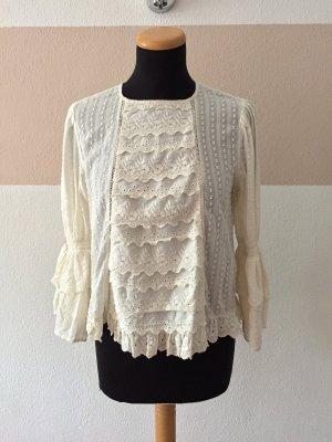 21071403 Weiße Rüschen Volants Bluse von Zara, Gr. XS