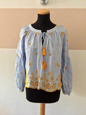 21072503 Blau weiß Streifen Stickerei Bluse von Zara, Gr. M