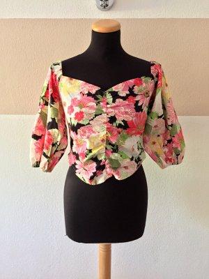 21072701 Bunte Blumen Crop Bluse von Zara, Gr. M (NEU)